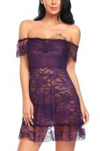 Avidlove Women's Lingerie Dress Lace Babydoll Off Shoulder Chemise Nighties