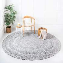 Unique Loom Braided Chindi Collection Casual Modern Gray Round Rug (3' 3 x 3' 3)