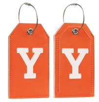 Initial Letter Luggage Tag 2 Pack with Full Privacy Cover and Travel Bag Tag Orange by Toughergun (Y)