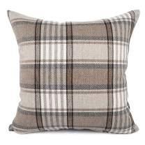 YOUR SMILE Retro Farmhouse Buffalo Tartan Chequer Stripe Plaid Cotton Linen Decorative Throw Pillow Case Cushion Cover Pillowcase for Sofa Outdoor Indoor (Brown, 22''x22'')