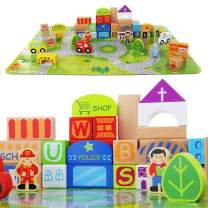 Wooden Building Blocks for Toddlers - Little Town Colorful Solid Wood Set - Jigsaw Puzzle Mat - 100 Pieces Include People, Cars, Trees and City Buildings - Educational Baby Toy for Boys and Girls
