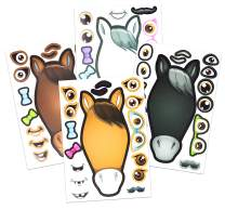 24 Make A Horse Stickers Sheets For Kids - Horse, Petting Zoo, Barnyard Theme Birthday Party Favors & Decorations - Includes Brown, Black, White/Grey Horses - Fun Craft Activity For Children 3+