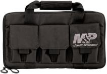 SMITH & WESSON M&P Pro Tac Padded Handgun Case with Ballistic Fabric Construction and External Pockets for Shooting, Range, Storage and Transport