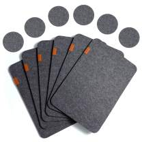 Place Mats for Dinning Table - Topbooc Felt Placemats Set of 6 Place Mats and 6 Coaster Heat-Resistant Anti-Skid Washable Table Mats( 12pcs Grey)