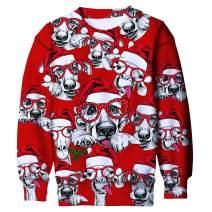 RAISEVERN Unisex Kids Ugly Christmas Crewneck Sweater 3D Printed Funny Xmas Pullover Sweatshirt 6-16 Years