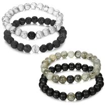 ORAZIO 4Pcs 8mm Beaded Distance Bracelet Natural Stone Couple Lover Relationship Bracelets Elastic