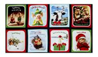 "Robert Kaufman 0473792 Santa's Sidekicks Digital 24"" Panel Holiday Fabric, Multi"
