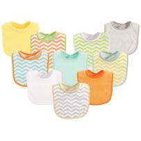 Luvable Friends Unisex Baby Cotton Terry Bibs, Neutral Chevron, One Size