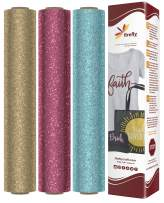 """Firefly Craft Glitter Heat Transfer Vinyl Bundle   Fairytale Glitter HTV Vinyl Bundle   Glitter Iron On Vinyl for Cricut and Silhouette   Pack of 3 Best Selling Colors - 12"""" x 20"""" Each"""