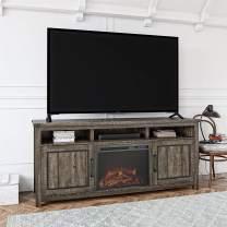 """Ameriwood Home Cedar Ridge Fireplace 70"""", Rustic Oak TV Stand,"""