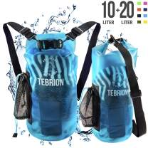TEBRION 10L / 10L + 20L Premium 100% Waterproof Dry Bag Thick & Lightweight - Roll Top Sack Keep Gear Dry and Safe Perfect for Kayaking, Rafting, Boating, Surfing - Various Colors & High Value Sets!