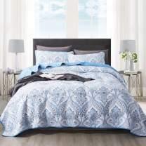 NEWLAKE Cotton Bedspread Quilt Sets-Reversible Patchwork Coverlet Set, Blue Classic Royal Pattern, Queen Size