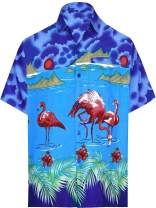 LA LEELA Men's Golf Front Pocket Short Sleeve Hawaiian Shirt