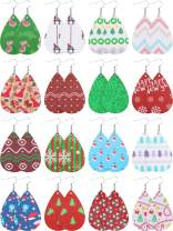 16 Pairs Christmas Faux Leather Earrings Print Leather Earrings Teardrop Dangle Earrings
