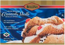 Bellino Hand Rolled Cannoli Shells Boxes, 6 Count, 3 Oz, (Pack of 12)