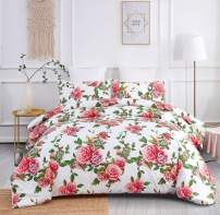 DaDa Bedding Romantic Roses Duvet Cover Set - Lovely Floral Spring Pink w/Pillow Cases - Bright Vibrant Multi-Colorful Blooming Flowers - Very Soft Comforter Cover w/Corner Ties - King - 3-Pieces