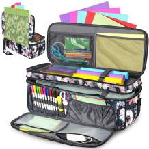 Double-Layer Carrying Case for Cricut Die Cut Machine, Water-Resistant Carrying Bag with Cutting Mat Pocket, Tote Bag Compatible with Cricut Explore Air, Air 2 and Maker(Bag Only), Floral