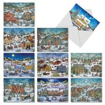 10 Assorted 'Old Town Christmas' Holiday Greeting Cards with Envelopes 4 x 5.12 inch, Thank You Stationery with Vintage Snow-Covered Towns, Note Cards for Xmas, New Year, Gifts M5080TYG-B1x10