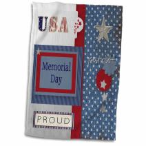 """3D Rose Patriotic Stars and Words in Blue-Silver-White and Red-Memorial Day Towel, 15"""" x 22"""""""