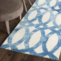 """Safavieh Dip Dye Collection DDY675A Handmade Geometric Watercolor Ivory and Blue Wool Runner (2'3"""" x 8')"""