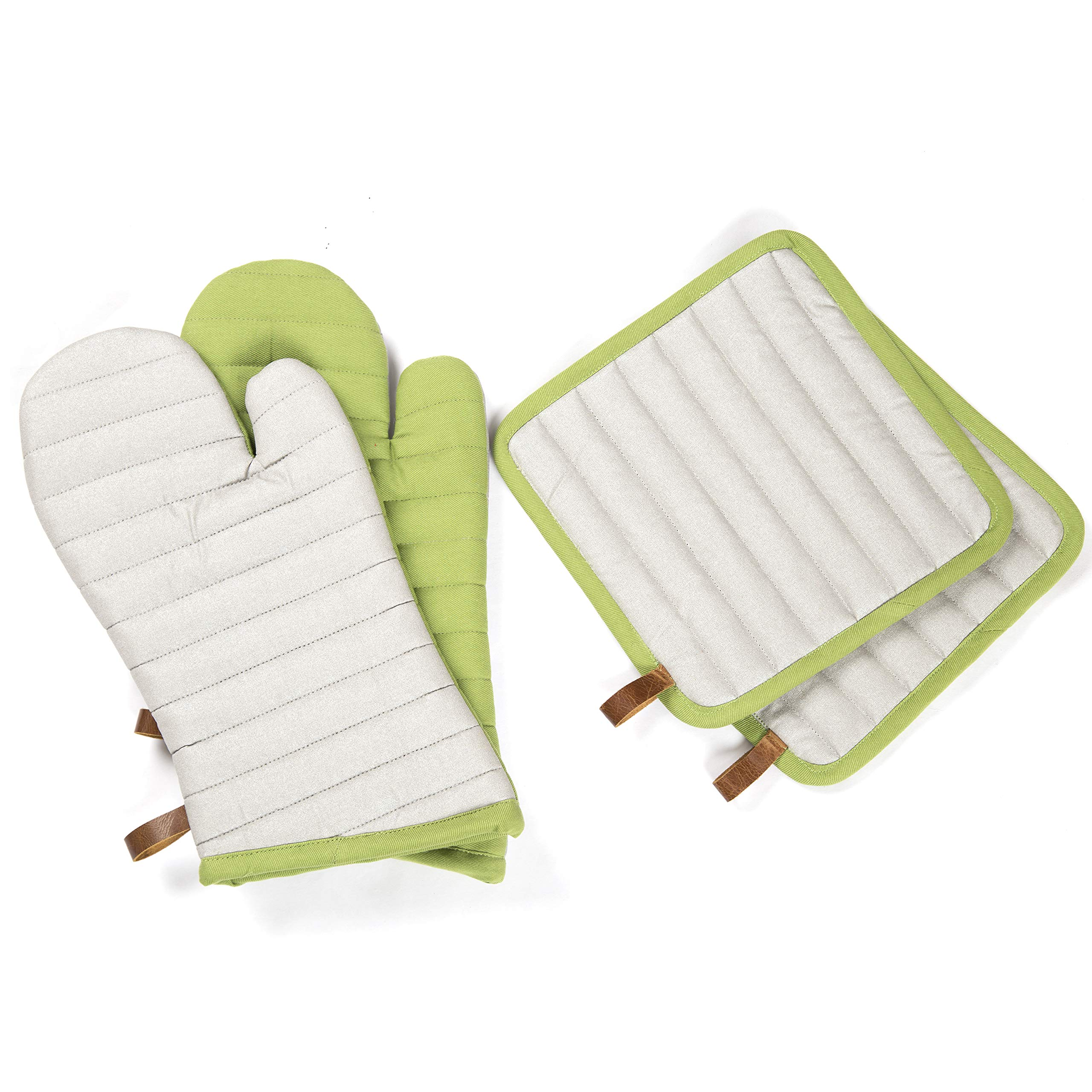 Maspar Pot holders and Oven Mitts/Gloves 4 piece set with genuine leather trims 2 Mitts and 2 Pot Holders, Green and Silver Heat Resistant Machine Washable Best for Cooking, Baking, Grilling, Barbecue