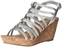 Rampage Women's Josie Cork Wedge Sandals with Strappy Upper and Slingback Buckle Closure