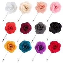 JLIKA Lapel Flower Pin Rose for Wedding Boutonniere Stick (Set of 12 PINS)