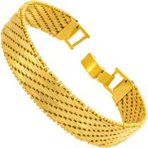 Lifetime Jewelry 13mm Vintage Flat Basket Weave Bracelet 24k Real Gold Plated for Women and Men with Free Lifetime Replacement Guarantee