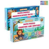 LogicRoots 12 Math Puzzles (7-12 Pieces Each) - 6 Number Counting & Addition Puzzle | 6 Multiplication Puzzles (Gift Learning Puzzle Toy for Kids, Girls & Boys - Best for 2,3,4,5,6, and 7 yr)