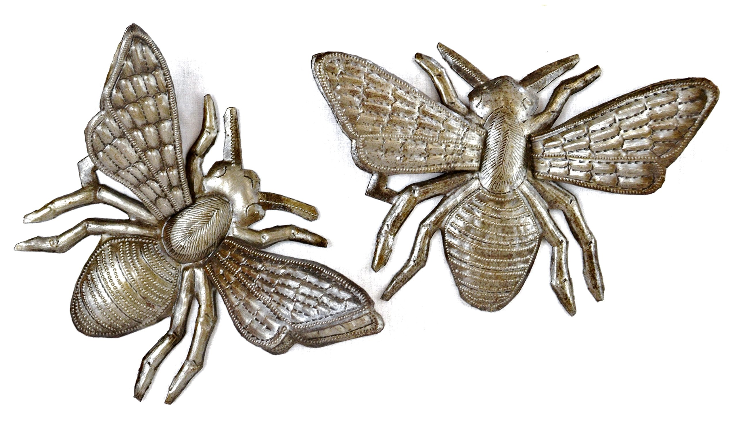 Buzzing Around Bumble Bee, Set of 2 Haitian Metal Bugs Wall Art, Unique Decorative Garden Insects Home Decor Recycled Haitian Art (Bees)