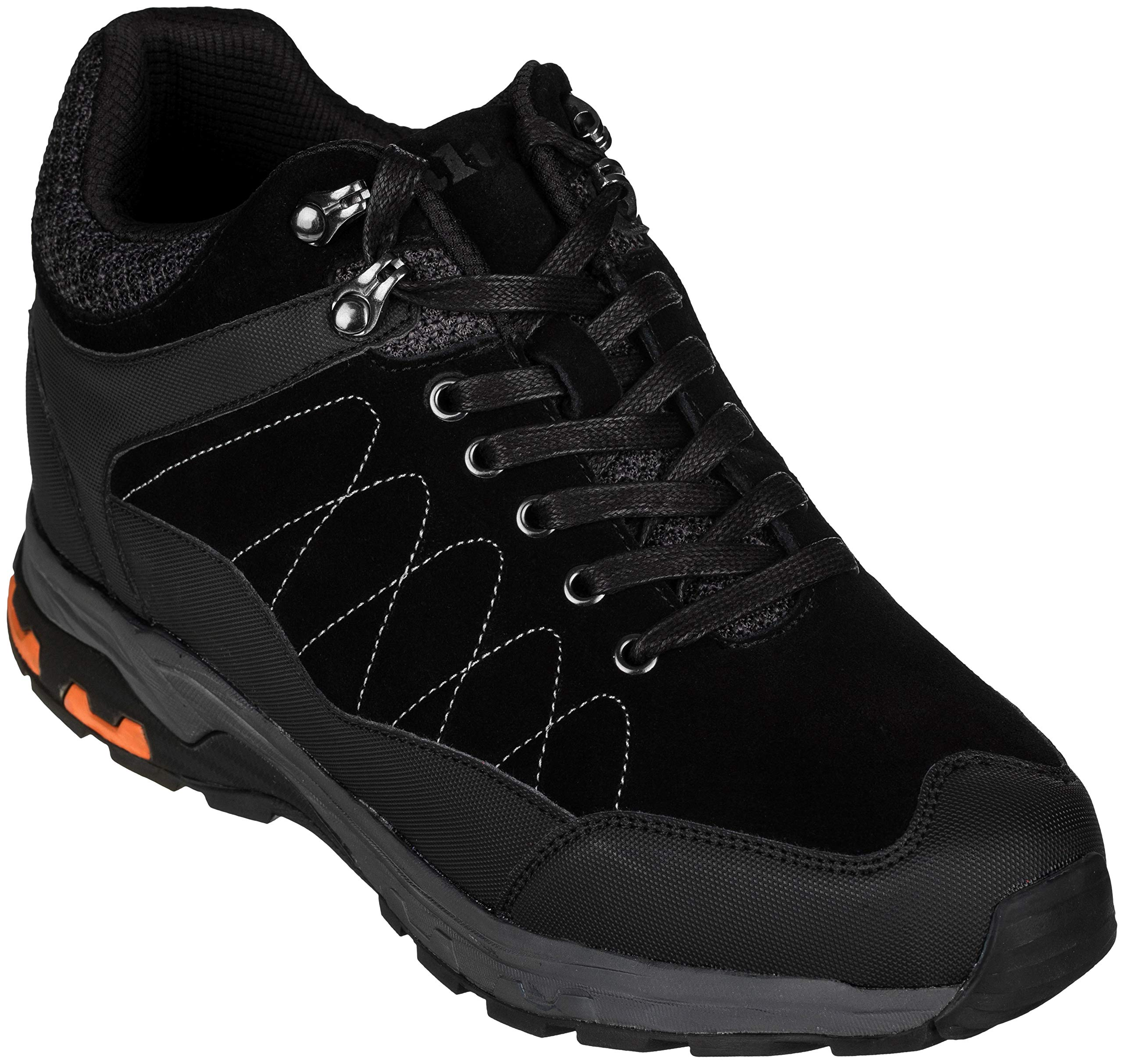CALTO Men's Invisible Height Increasing Elevator Shoes - Suede Lace-up Hiking Boots - 3.2 Inches Taller