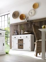 NovaSolo Halifax Contrast Pure White Mahogany Wood Sideboard Dining Buffet With Storage, 3 Drawers And 2 Rattan Baskets