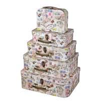Soul & Lane Decorative Travel-Themed Cardboard Suitcase Boxes (Set of 5, World Traveller)   Travel Nesting Gift Boxes w/Lid for Keepsake Toys Photos Memories Closet Nursery Office