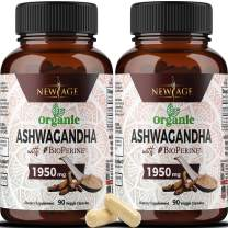 (2-Pack) Ashwagandha 1950mg Organic Ashwagandha Root Powder with BioPerine. Anxiety Relief, Thyroid and Cortisol Support, Anti Anxiety & Adrenal Fatigue Supplements 180 Veggie Capsules - New Age