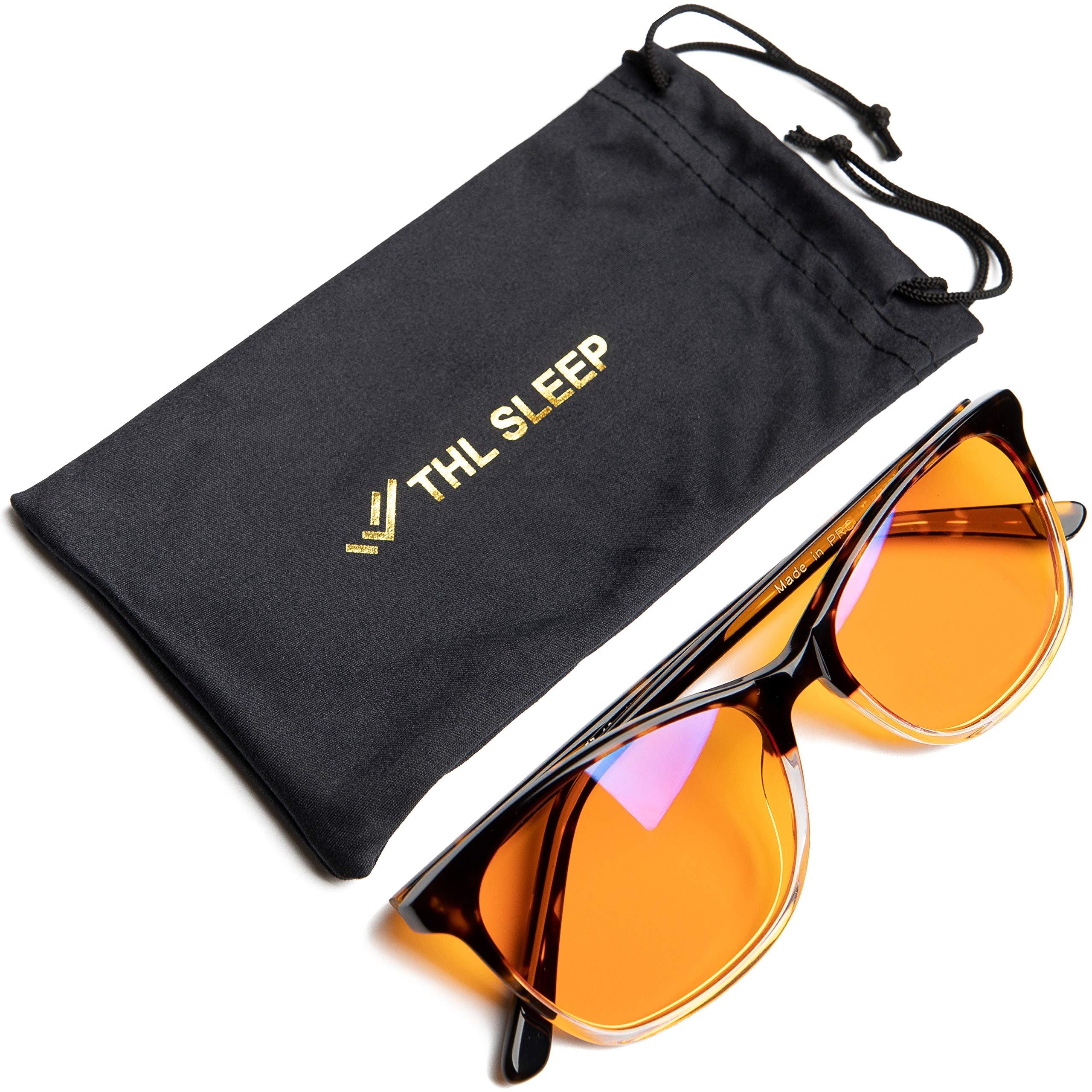 the HEALTH LISTS THL Blue Light Blocking Glasses for Better Sleep - Amber Orange Computer Filter Anti Eye Strain - Round Cat Eye Frame (Tortoise Fade) Regular