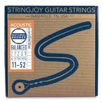 Stringjoy NB1152 Natural Bronze Acoustic Guitar Strings, (Super Light Gauge - 11-52)