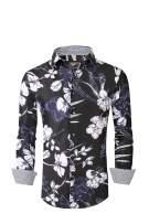 Flash Apparel Premiere Men Floral Dress Shirts Long Sleeve Casual Button Down Flower Hawaiian Printed Shirts (3XL, Black 688)
