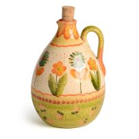 Festa Dinnerware – Olive oil cruet 2 w/Floral Art Design - Festive Dinnerware made of Italian Dinnerware Set of Flowery Hand Painted Ceramic