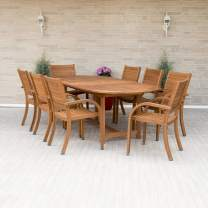 Amazonia Arizona 9 Piece Oval Outdoor Dining Set Eucalyptus Wood | Durable and Ideal for Patio and Backyard