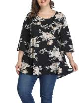Shiaili Swing A-line Plus Size Blouses Shirt Floral 3/4 Sleeve Tops for Women