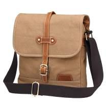 Kemy's Mens Messenger Bag Canvas Leather 10X12 inch Crossbody Vintage Shoulder Bag School College Satchel Classic Khaki Bag for man