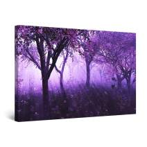 Startonight Canvas Wall Art - Purple Forest Light Abstract Fantasy, Framed 32 x 48 Inches