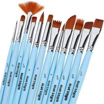 Watercolor Brushes Paint Brush Set - by Blue Squid, 12 Artist Paint Brushes, Perfect for Face Painting, Round Pointed Tip Nylon Hair Artist for Acrylic Watercolor Oil & Body Painting