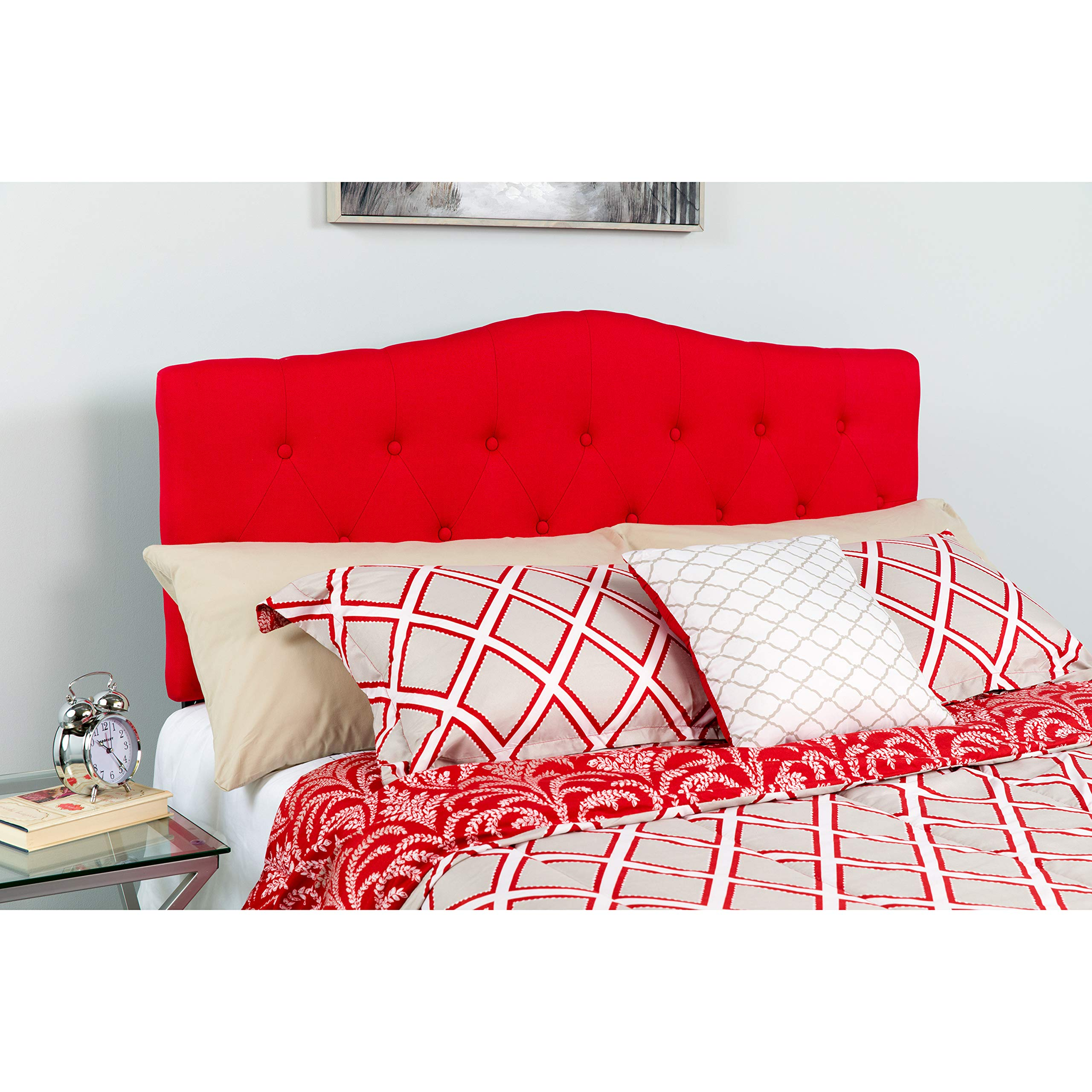 Flash Furniture Cambridge Tufted Upholstered Queen Size Headboard in Red Fabric