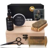 Premium Beard Grooming Kit for Men - 100% Organic Unscented Beard Oil and Beard Balm Wax, Beard Brush, Beard Comb, Trimming Scissors for Beard & Mustache – in a Bamboo Gift Box by altobravo