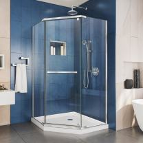 DreamLine Prism 40 in. x 74 3/4 in. Frameless Neo-Angle Pivot Shower Enclosure in Chrome with White Base Kit, DL-6032-01