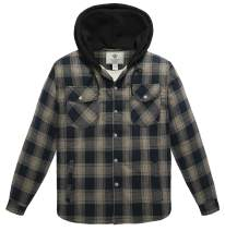 WenVen Men's Plaid Hooded Shirt Jacket with Sherpa Lined