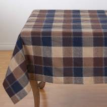 """SARO LIFESTYLE 8571.BR70S Harvest Collection Cotton Blend Tablecloth With Stitched Plaid Design, 70"""", Brown"""