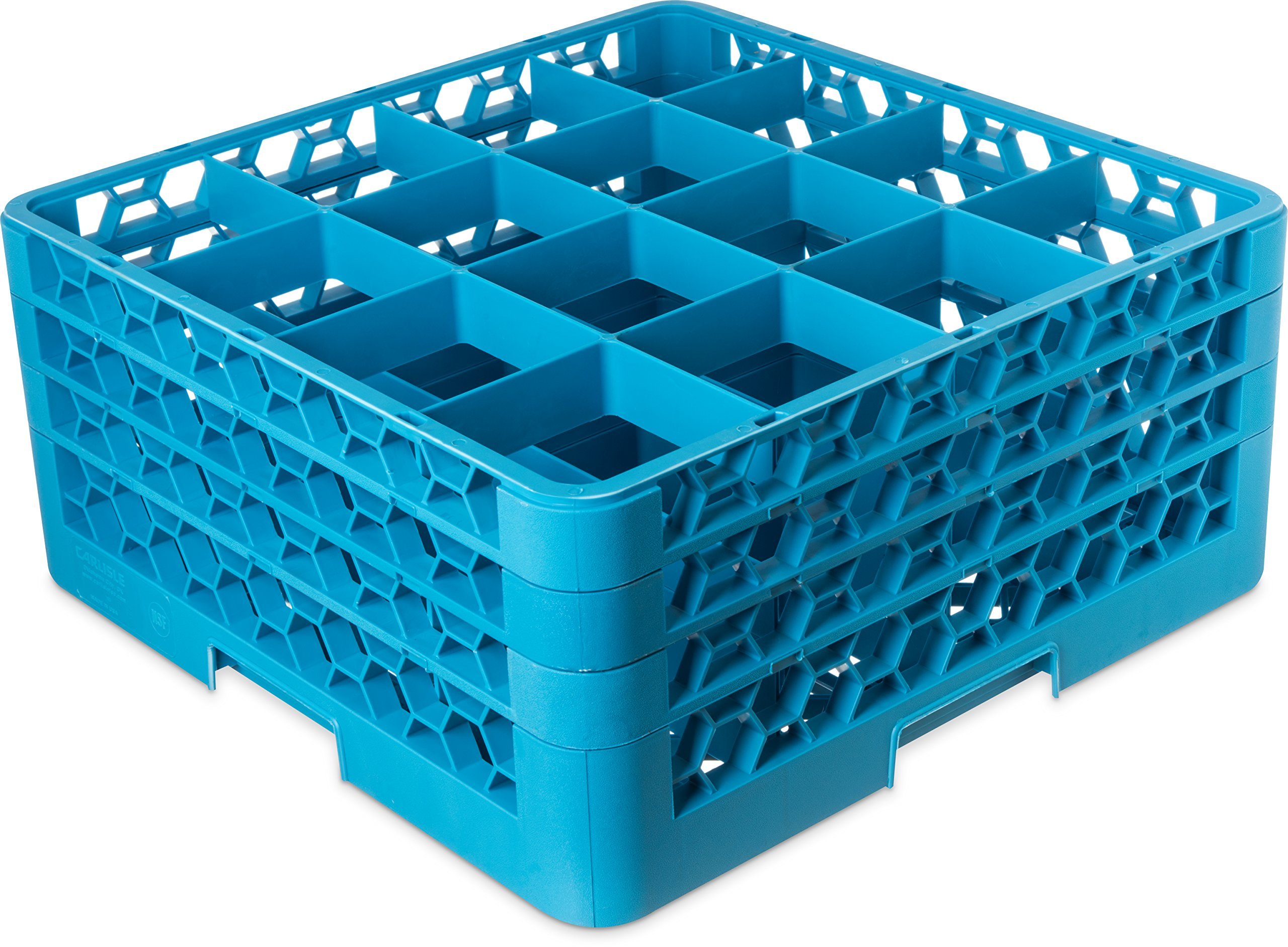 """Carlisle RG16-314 OptiClean 16-Compartment Glass Rack w/ 3 Extenders, Polypropylene, 20.88"""" Length, 20.88"""" Width, 8.72"""" Height, Blue (Case of 2)"""