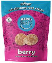 Evoke Happy Snaps, Berry, 4oz, Pack Of 6 - Crispy Oat Snacks, Gluten Free, Nut Free, Low Sugar